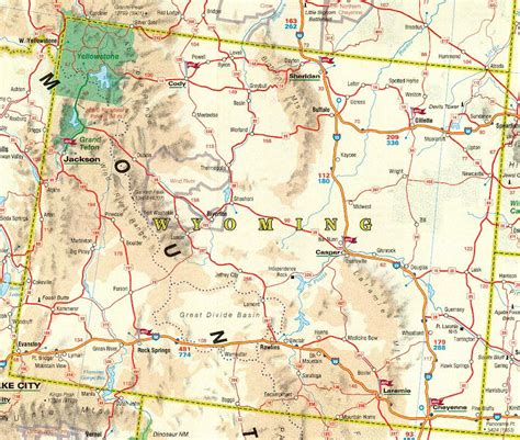 Carte routière Wyoming