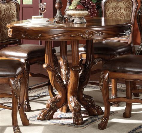 Acme Dresden Round Pedestal Counter Height Dining Table in