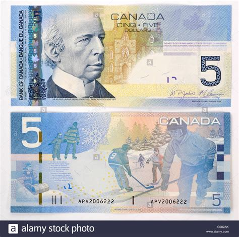 Canadian 5 dollar banknote, front and back Stock Photo