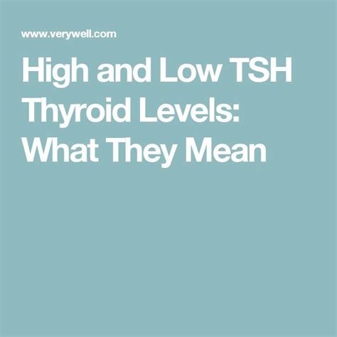 What Do High and Low TSH Levels Mean? | Thyroid levels