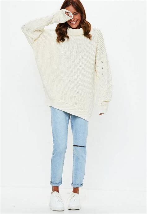 Cream Roll Neck Cable Longline Jumper | Missguided
