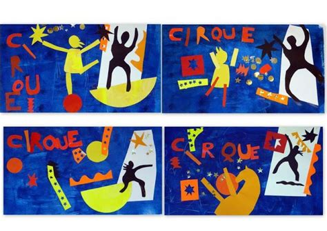 Matisse-style Circus cutout collage from les petites têtes