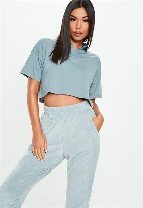 Blue Polo Boxy Crop Top | Missguided