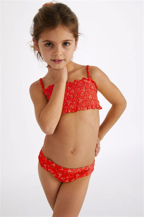 Children's two-piece red Liberty print swimsuit | SMOCKYS